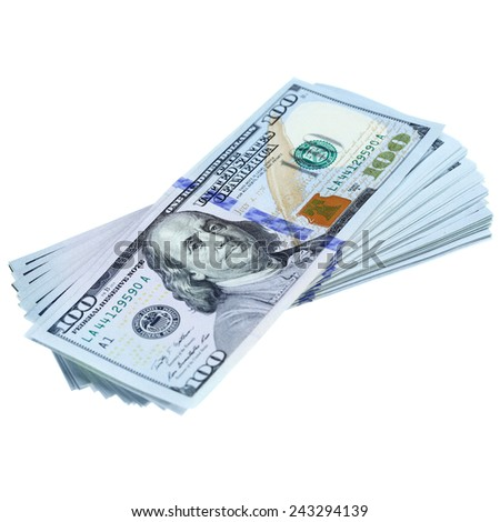 Bundle of dollars isolated on white - stock photo