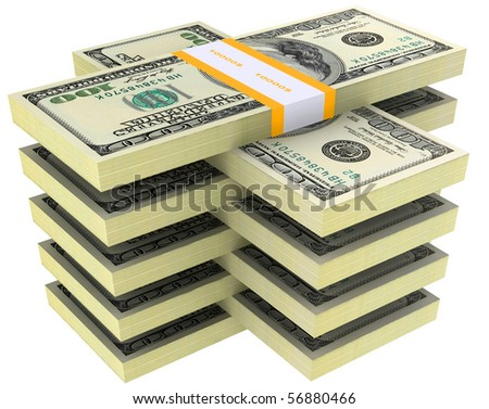 bundle of dollars on a white background - stock photo