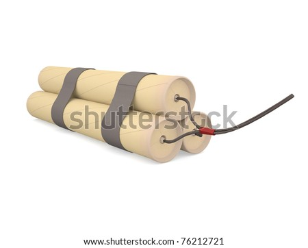 Bundle of dynamite. Explosive. The invention of Nobel. - stock photo