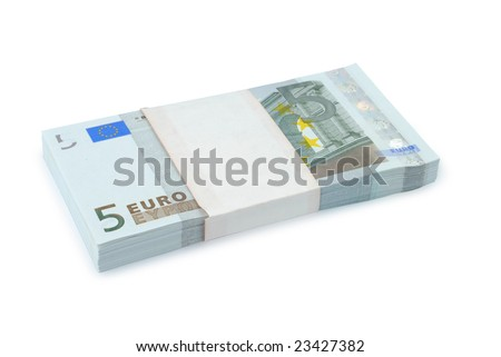 Bundle of euro isolated with clipping path over white