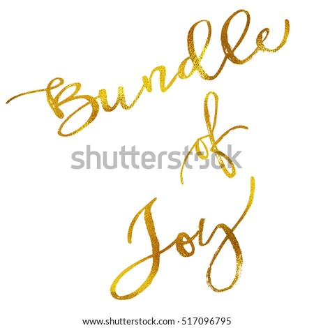 Bundle of Joy Gold Faux Foil Metallic Motivational Quote Isolated