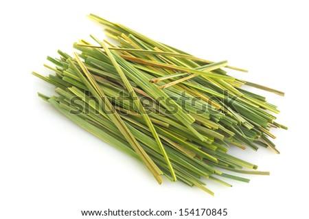 Bundle of lemon grass isolated on white background - stock photo