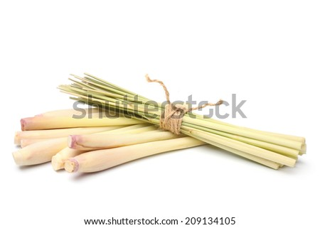 Bundle of lemon grass on white background - stock photo