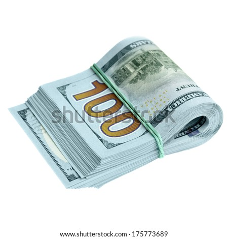 Bundle of new hundred dollar bills isolated over the white background - stock photo