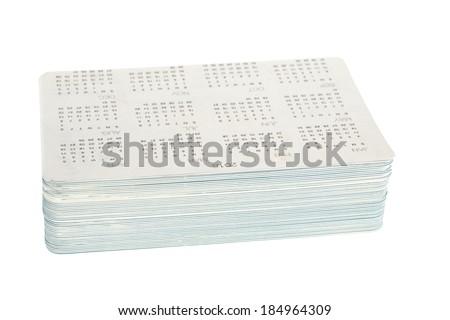Bundle of new pocket calendars to year 2015 isolated on white background - stock photo