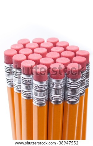 Bundle of pencils and erasers viewed from the side