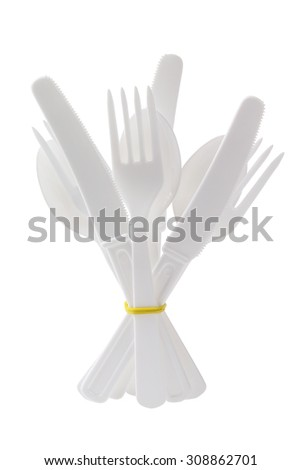 Bundle of Plastic Cutlery Standing on White Background - stock photo