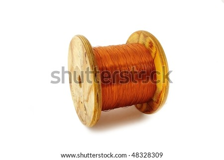 Bundle of thin cooper wire isolated on white - stock photo