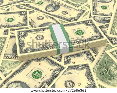Bundle of two dollars bank notes on the background.  3D illustration.
