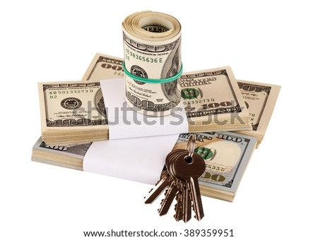 Bundle of US dollars and keys isolated on white, closeup, selective focus - stock photo