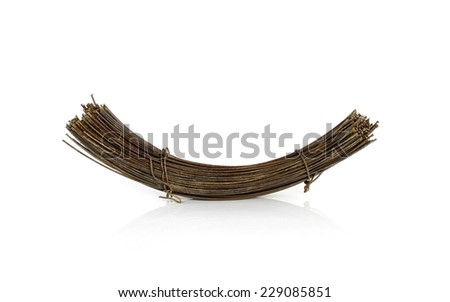 bundle rusty metal wire isolated on white background - stock photo