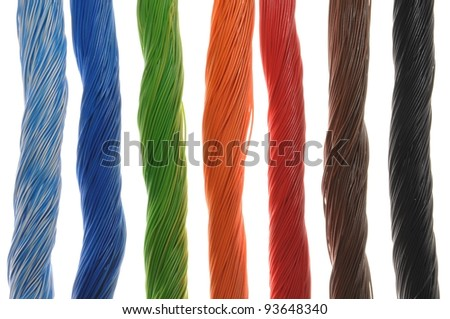 Bundles of cables in telecom networks - stock photo