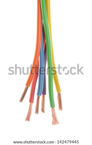 Bundles of electric computer cables on a white background   - stock photo
