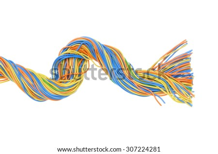 Bundles of electric computer cables on a white background