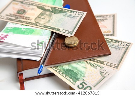 bundles of euro money and dollars in the ledger - stock photo