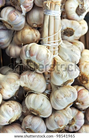 Bundles of fresh garlic for sale at a market in Rennes, France - stock photo