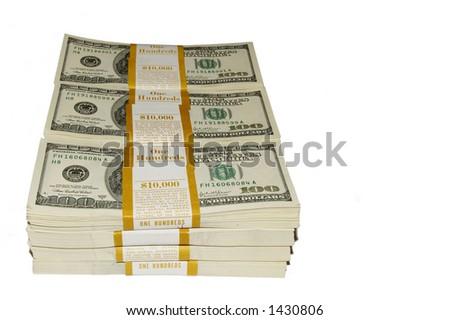Bundles of ten thousand dollars  isolated - stock photo