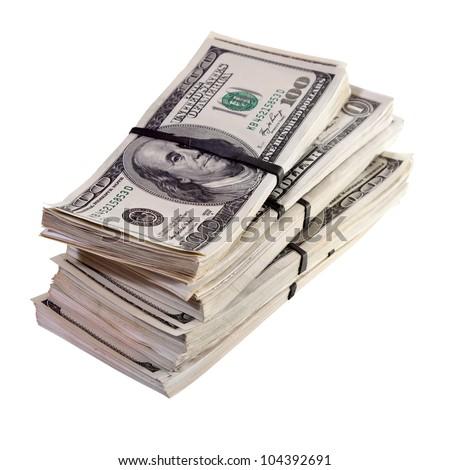 bundles of US dollars bank notes. Isolated on white background - stock photo