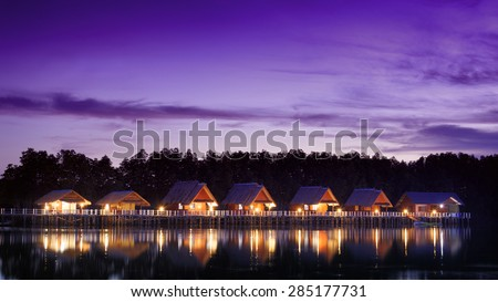 Bungalow near pond : Asia tropical style - stock photo
