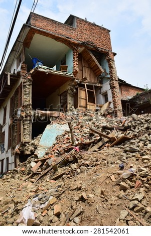Bungamati ,Lalitpur ,Kathmandu Nepal - May 9 2015 : Collapsed building after earthquake disaster