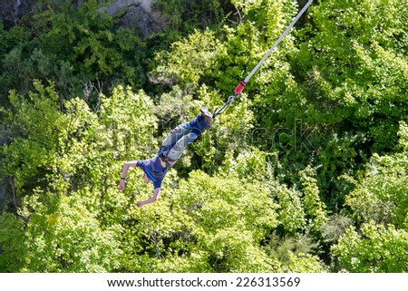 Bungee jumping in newzealand - stock photo