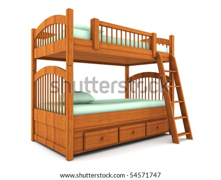 bunk bed isolated on white background with clipping path - stock photo