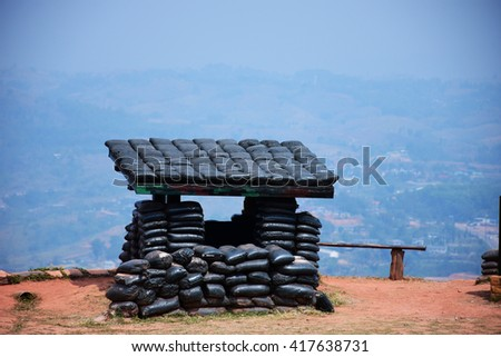 Bunker is a vestige of the past and war is a disaster Of Destruction. - stock photo