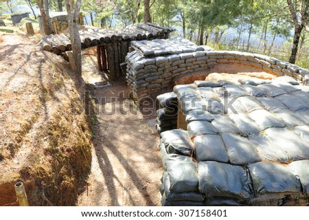 Bunker of troops along the border to protect the country.
