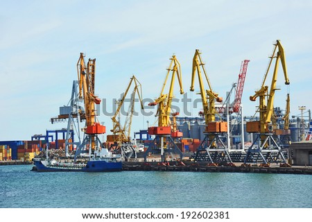 Bunker ship (fuel replenishment tanker) under port crane, Odessa, Ukraine