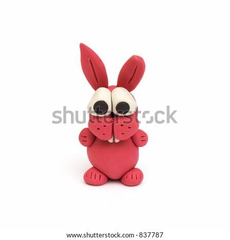 bunny, clay modeling - stock photo