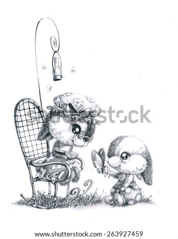 Bunny grandmother and baby grandson - stock photo