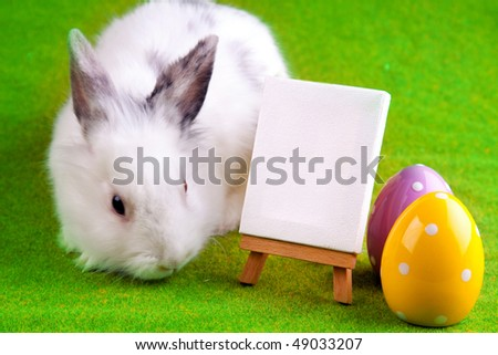 bunny, table and two painted eggs - stock photo