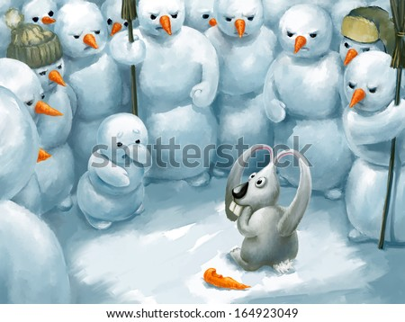 Bunny thief. Funny illustration, winter theme, digital painting.  - stock photo