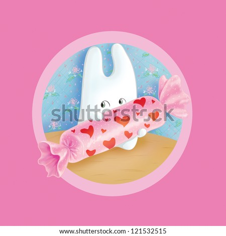 Bunny with candy - stock photo