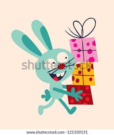bunny with presents - stock photo