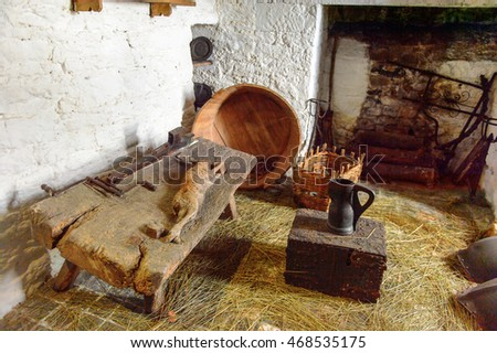 BUNRATTY, IRELAND - JULY 13, 2016: Room in the Bunratty Castle, County Clare, Ireland. National Monument of Ireland