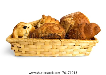 Buns, croissants, bread sticks in a wicker basket isolated on white background - stock photo