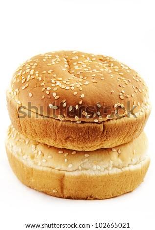 buns white background - stock photo