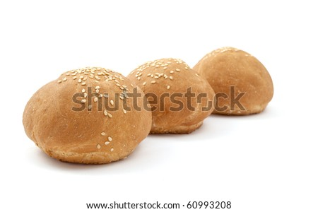 buns with sesame seeds on a white background
