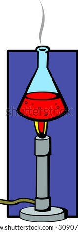 bunsen burner and flask with chemical - stock photo