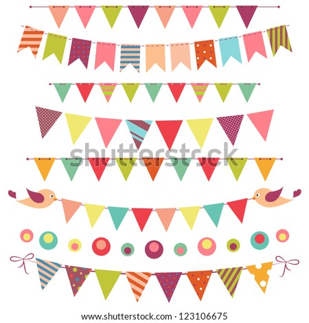 bunting and garland set isolated on white. Raster version - stock photo