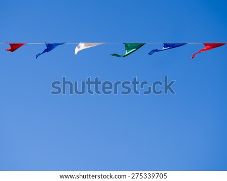 Buntings against the blue sky - stock photo