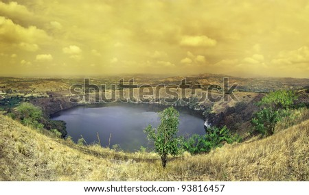 Bunyaruguru Crater Lake Field near Fort Portal. Western Uganda contains one of the densest concentrations of volcanic crater lakes in the world. Africa - stock photo