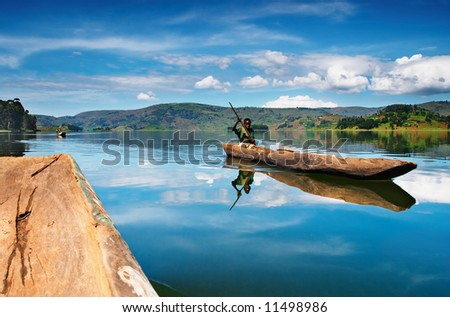 Bunyonyi lake in Uganda - stock photo