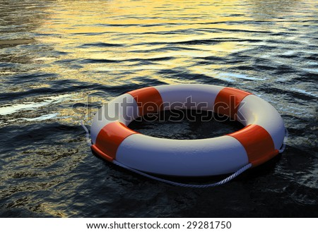 Buoy Ring floating on water 2 - stock photo