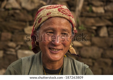 BUPSA, NEPAL - CIRCA OCTOBER 2013: Nepalese woman circa October 2013 in Bupsa.
