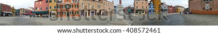 BURANO, ITALY - JANUARY 25, 2016: Panorama with central square and monument Baldassare Galuppi, by name Il Buranello on the famous island Burano.
