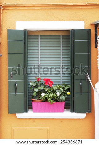 Burano window - stock photo