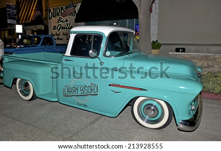 BURBANK/CALIFORNIA - JULY 26, 2014: 1955 Chevrolet 3100 on display at the Burbank Car Classic July 26, 2014, Burbank, California USA  - stock photo