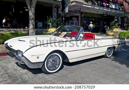 BURBANK/CALIFORNIA - JULY 26, 2014: 1962 Ford Thunderbird owned by Joe Rojas   at the Burbank Car Classic July 26, 2014, Burbank, California USA - stock photo